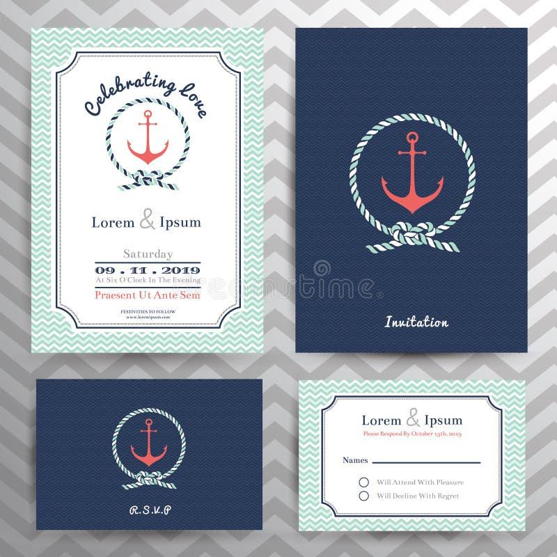 De zeevaarthuwelijksuitnodiging en RSVP-reeks van het kaartmalplaatje royalty-vrije illustratie