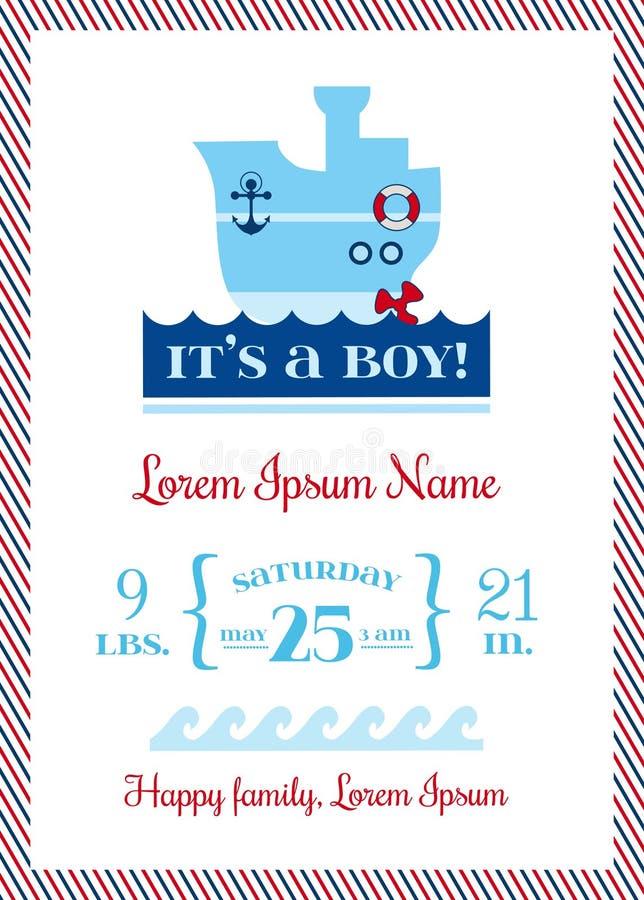 De Zeevaartkaarten van de babyaankomst royalty-vrije illustratie