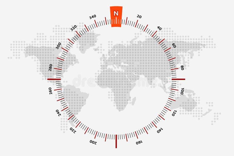De zeevaartreis van de wereldkaart De gestippelde Kaart van de Wereld De schaal is 360 royalty-vrije illustratie