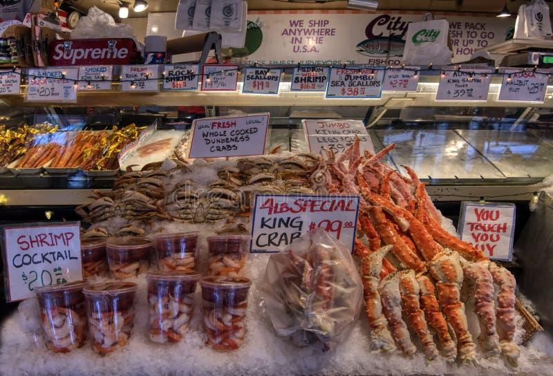 De zeevruchten bij Snoeken plaatsen Markt royalty-vrije stock fotografie