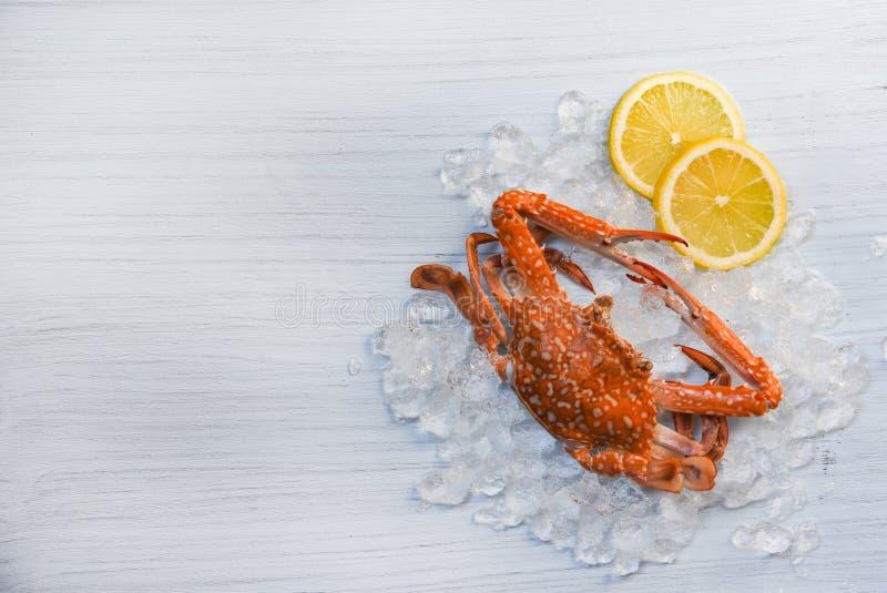 De zeevruchtenkrab kookte gekookt citroen en ijs op witte houten Blauwe Zwemmende Krab als achtergrond royalty-vrije stock foto