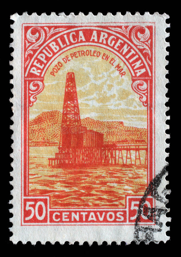 De zegel in Argentinië wordt gedrukt toont Oliebron die royalty-vrije stock fotografie