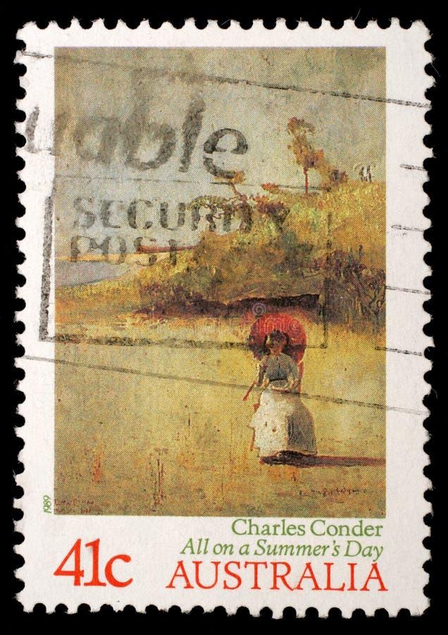 De zegel in Australië wordt gedrukt toont ` allen op de Zomer Dag `, door Charles Conder dat stock foto's
