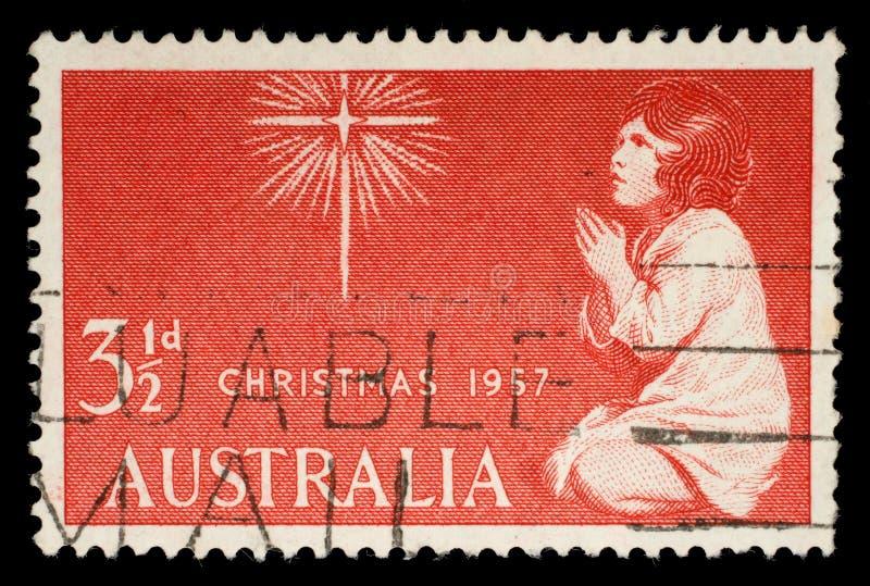 De zegel in Australië wordt gedrukt toont de Geest van Kerstmis die royalty-vrije stock afbeeldingen