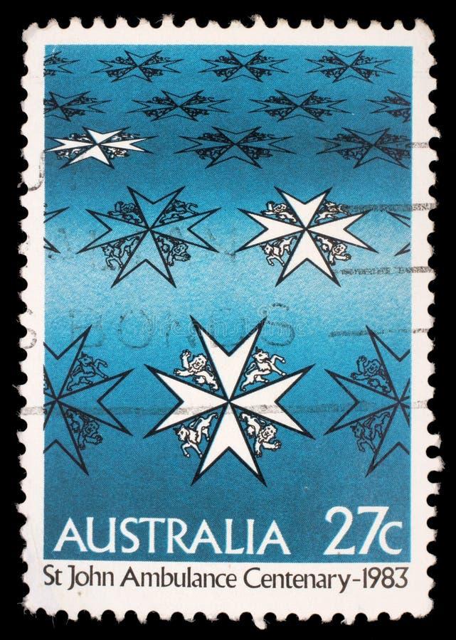 De zegel in Australië wordt gedrukt toont st john ziekenwageneeuwfeest dat royalty-vrije stock foto's
