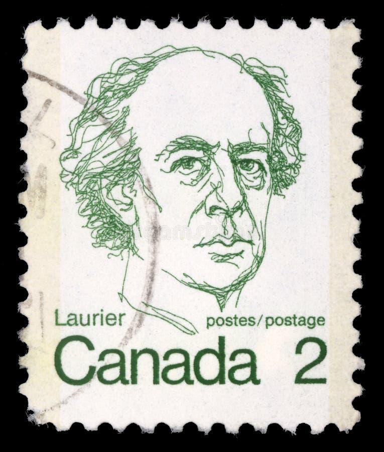 De zegel in Canada wordt gedrukt toont een portret van Canadese Eerste minister Sir Wilfrid Laurier dat stock afbeelding