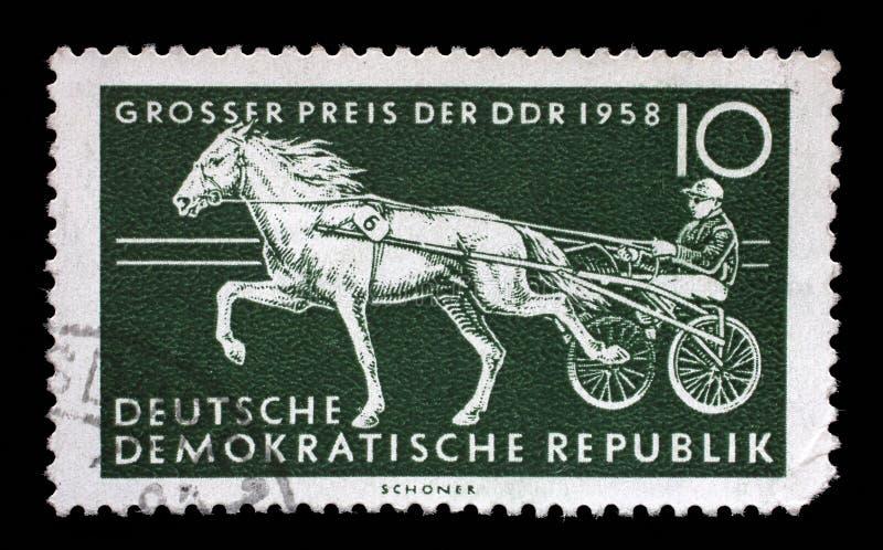 De zegel die in Ddr wordt gedrukt toont Draver, Raspaard, Internationaal Paardenrennen, Berlijn stock afbeelding