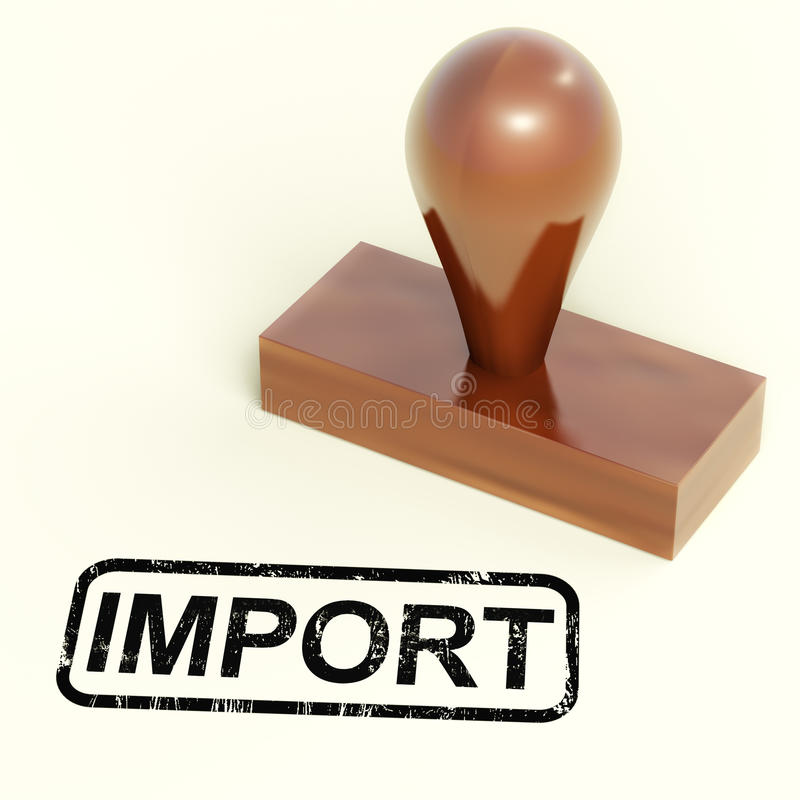 De Zegel die van de invoer het Invoeren Goederen of Producten toont stock illustratie
