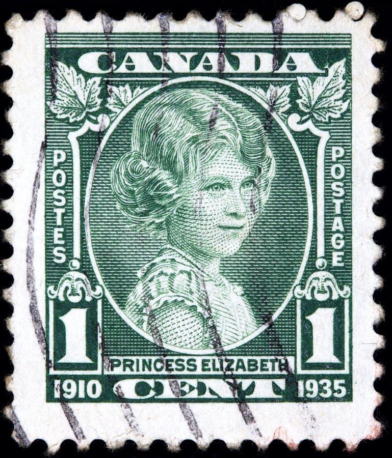 De zegel door Canada wordt gedrukt toont de toekomstige Koningin Elizabeth ongeveer 10 die verouderde royalty-vrije stock afbeelding