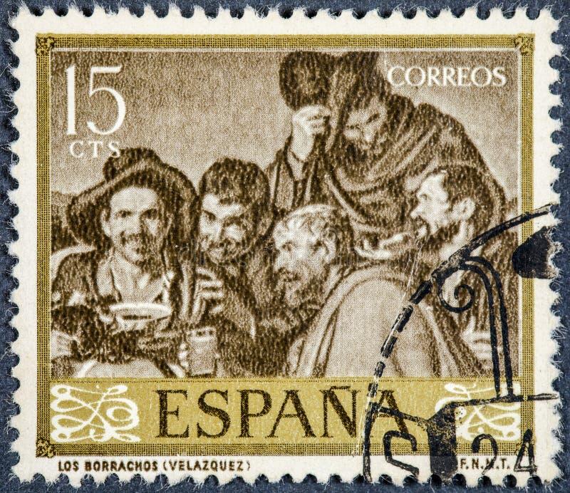 De zegel door Spanje wordt gedrukt, toont beeld drunks door Velazquez dat royalty-vrije stock afbeeldingen