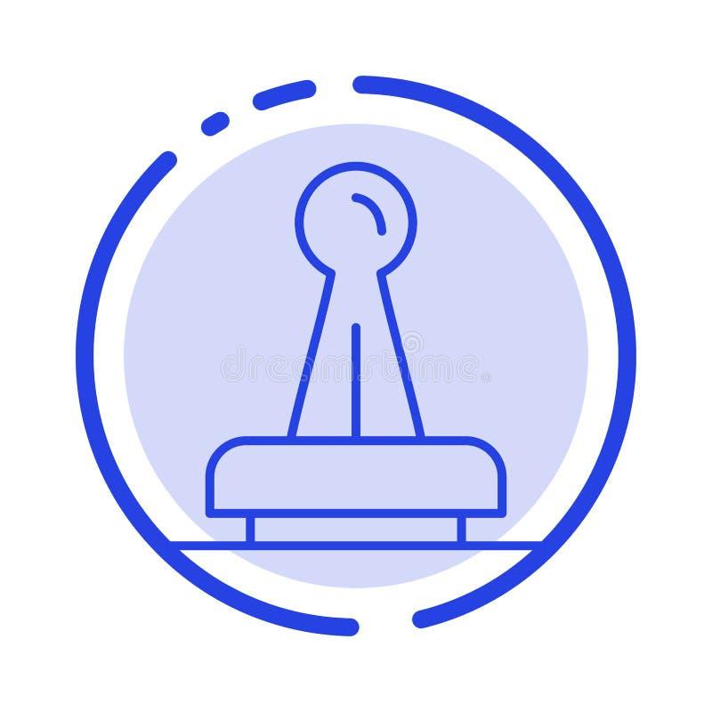 De zegel, Goedkeuring, Wettelijke Instantie, Teken, Rubber, verzegelt het Blauwe Pictogram van de Gestippelde Lijnlijn stock illustratie
