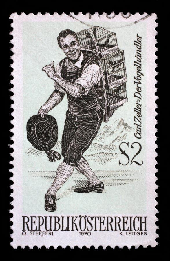 De zegel in Oostenrijk wordt gedrukt, toont het karakter van de operette de Vogelverkoper die stock afbeelding