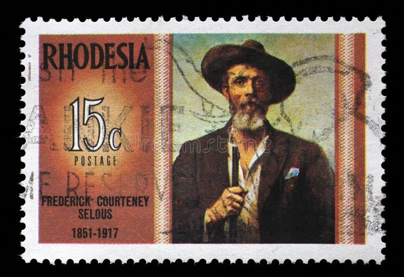 De zegel in Rhodesië toont Frederick Courteney royalty-vrije stock afbeeldingen