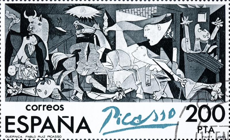 De zegel in Spanje wordt gedrukt toont het schilderen door Pablo Picasso Guernica dat royalty-vrije stock afbeelding