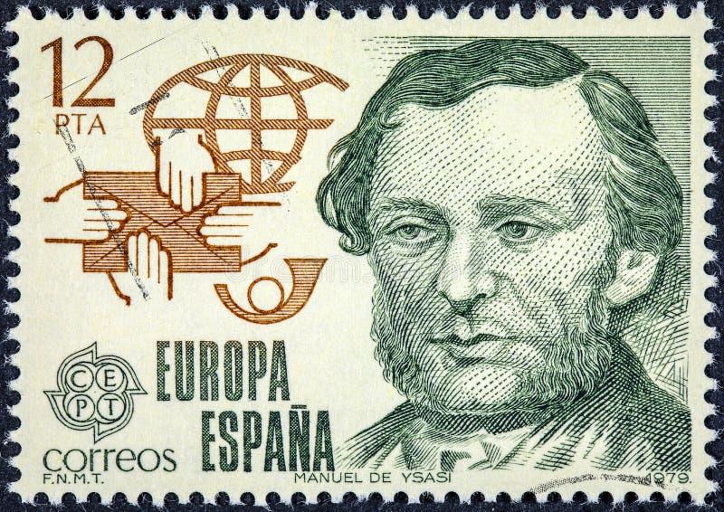 De zegel in Spanje wordt gedrukt toont Manuel de Ysasi dat stock afbeeldingen