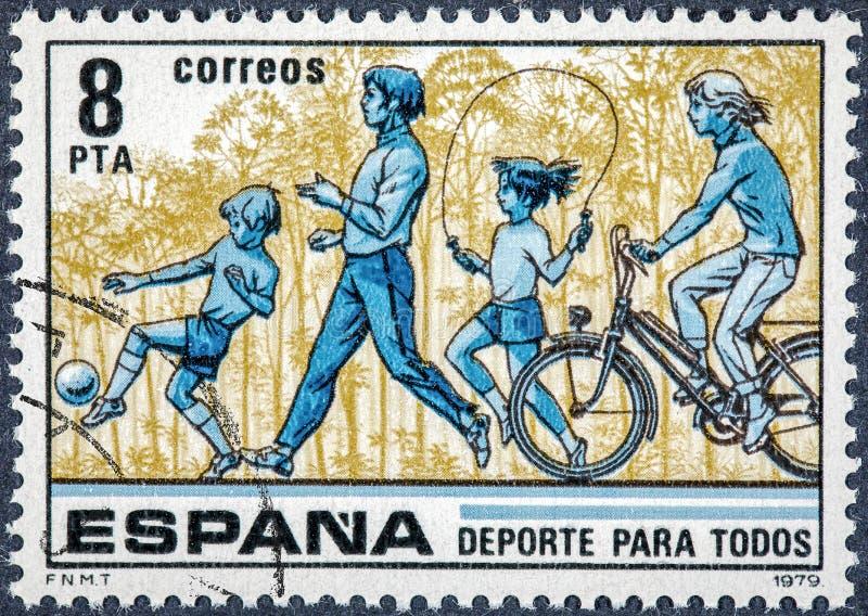 De zegel in Spanje wordt gedrukt toont Sport die voor allen stock foto