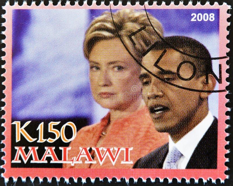 De zegel toont Barack Obama met Hillary Clinton stock foto