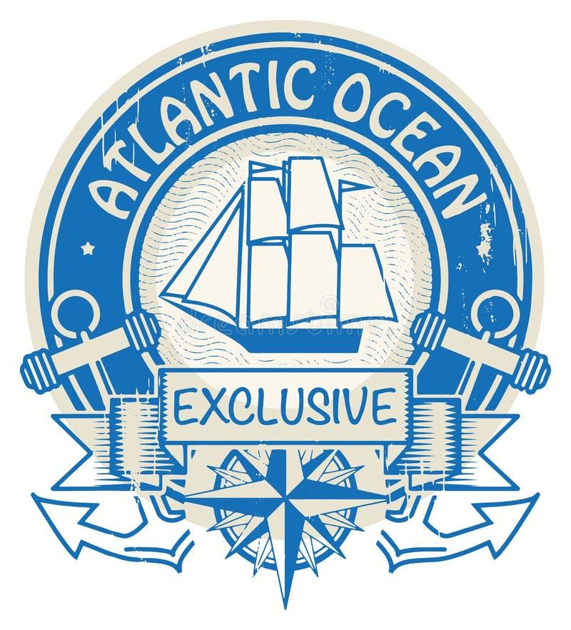 De zegel van de Atlantische Oceaan vector illustratie