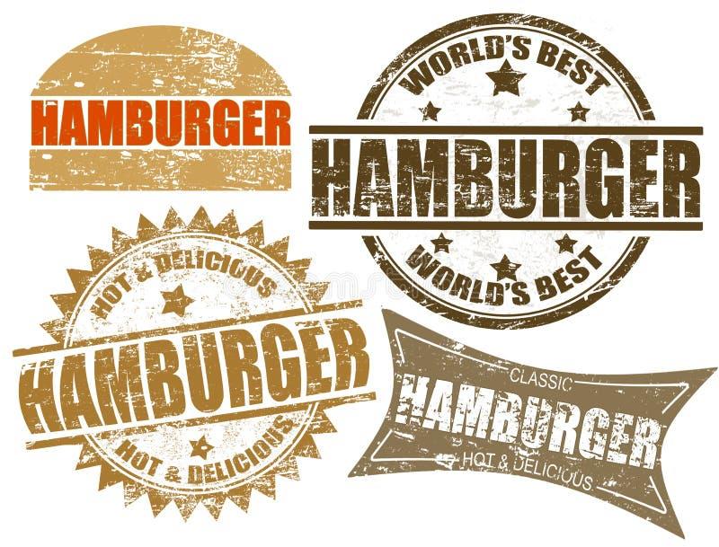 De zegel van de hamburger vector illustratie