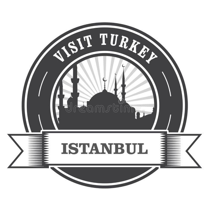 De zegel van Istanboel met silhouet van moskee stock illustratie