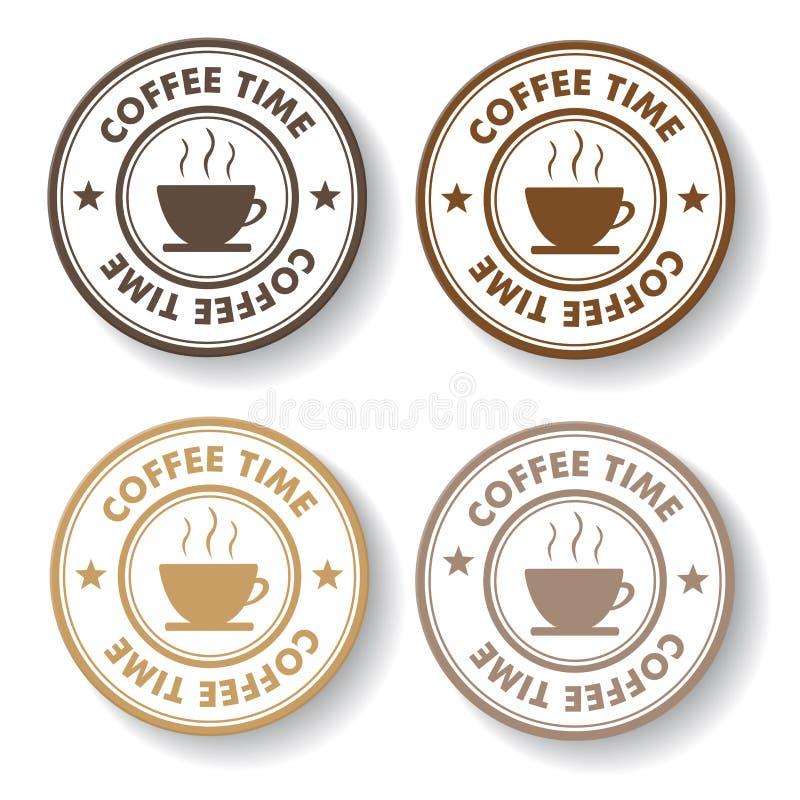 De Zegeletiketten van de koffietijd stock illustratie