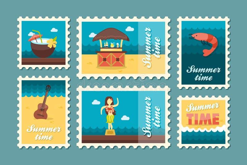 De zegelreeks van het eilandstrand De zomer Vakantie vector illustratie