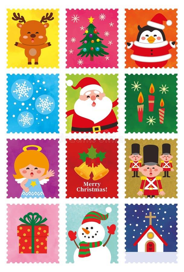 De zegelreeks van het Kerstmis leuke karakter vector illustratie