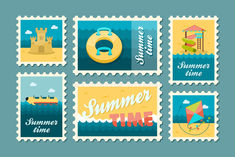 De zegelreeks van het strandvermaak De zomer Vakantie stock illustratie