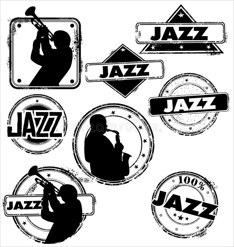 De zegels van de de jazzmuziek van Grunge royalty-vrije illustratie