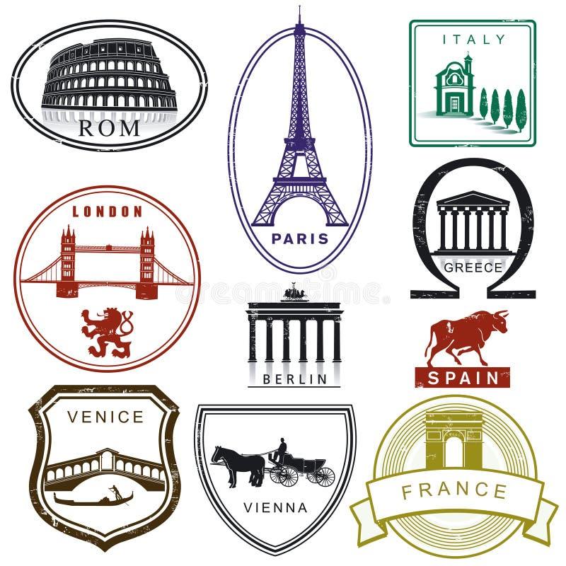De zegels van de reis vector illustratie