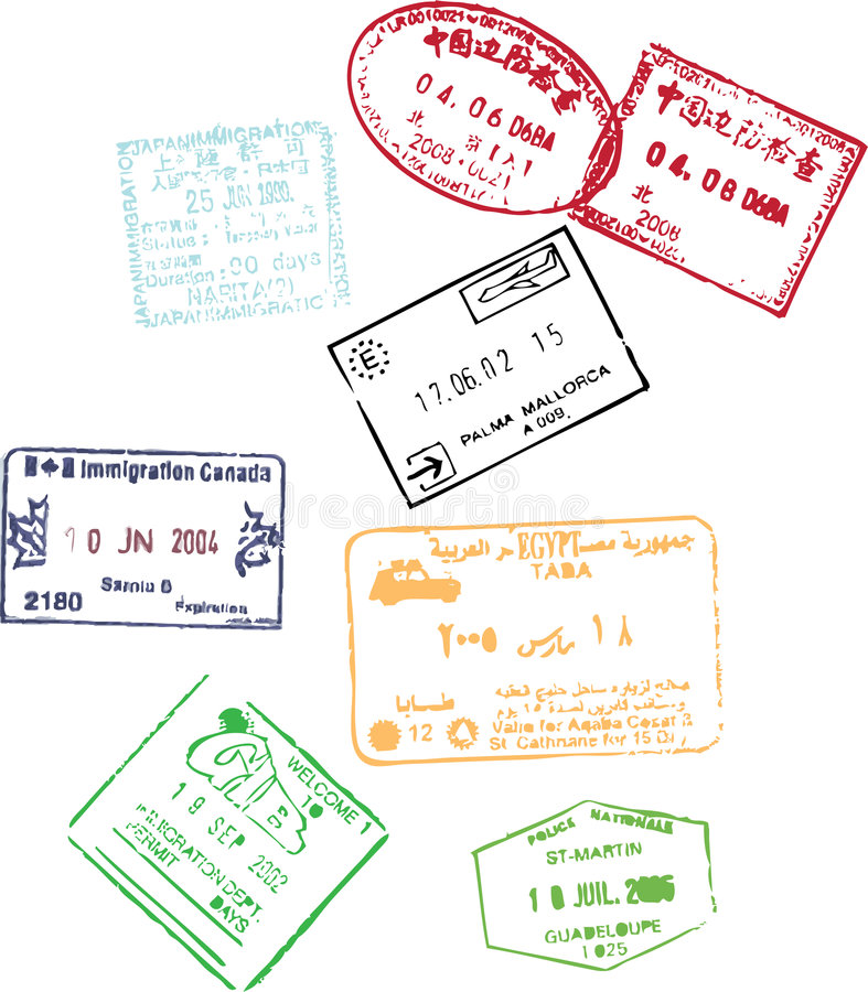 De zegels van het paspoort stock illustratie