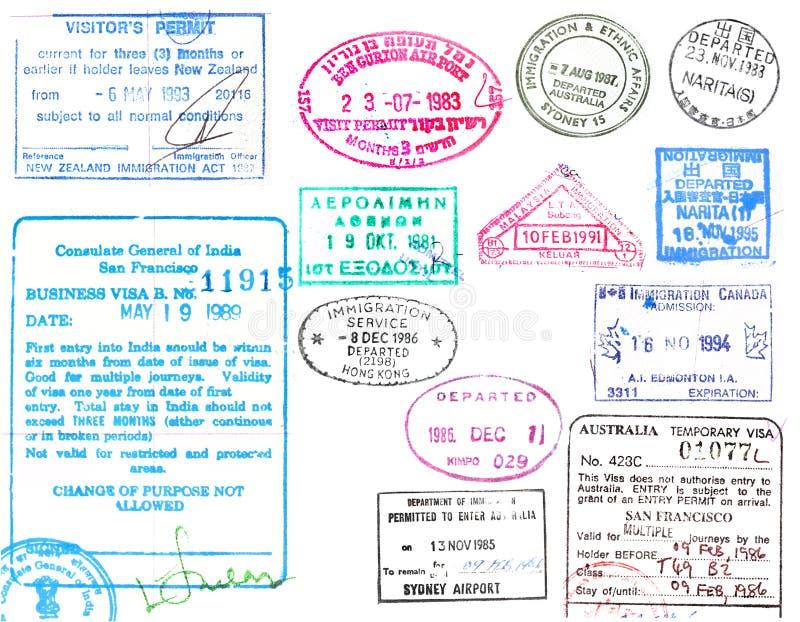 De zegels van het visum en van het paspoort royalty-vrije illustratie