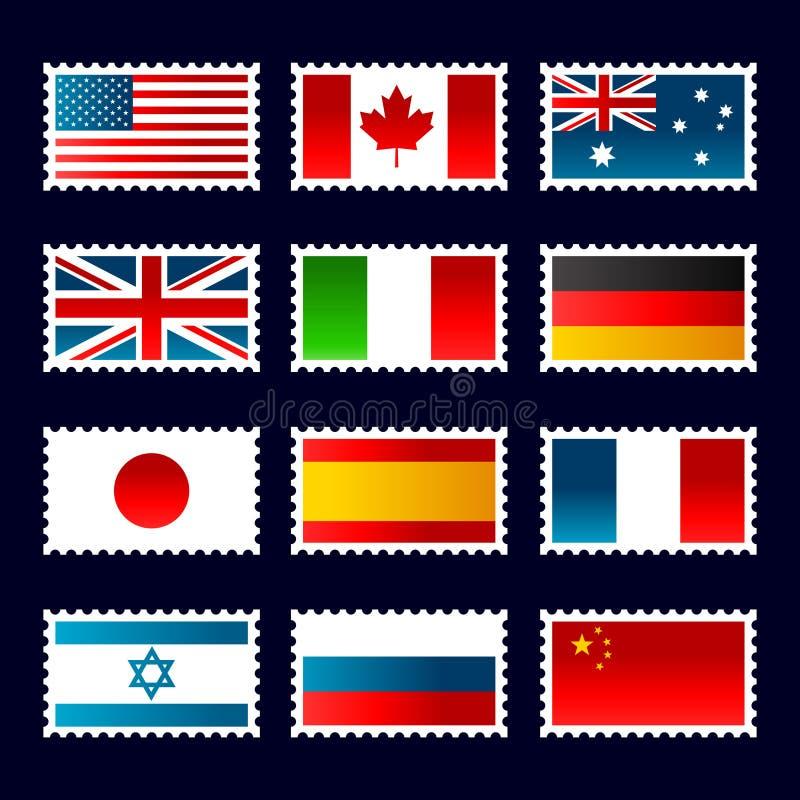 De Zegels van vlaggen stock illustratie
