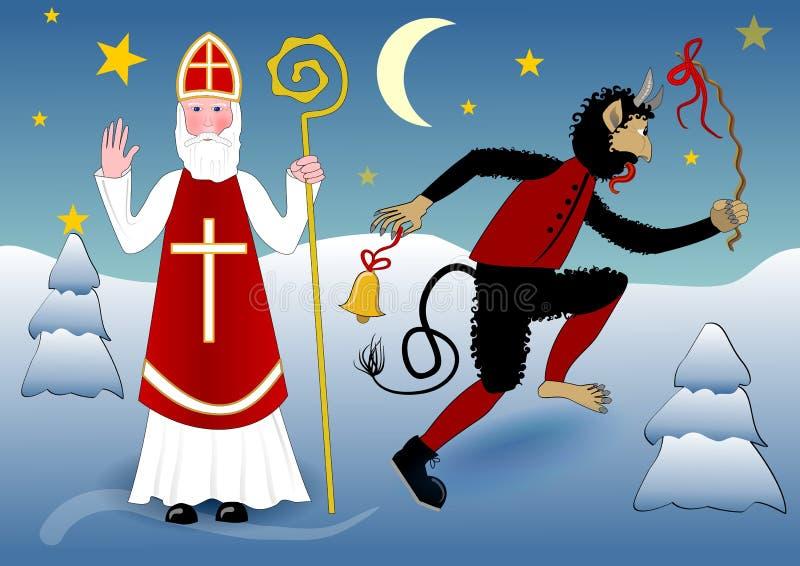 De zegen van Sinterklaas in traditionele witte kleding met kruis, mijter, een bisschopsstaf vector illustratie