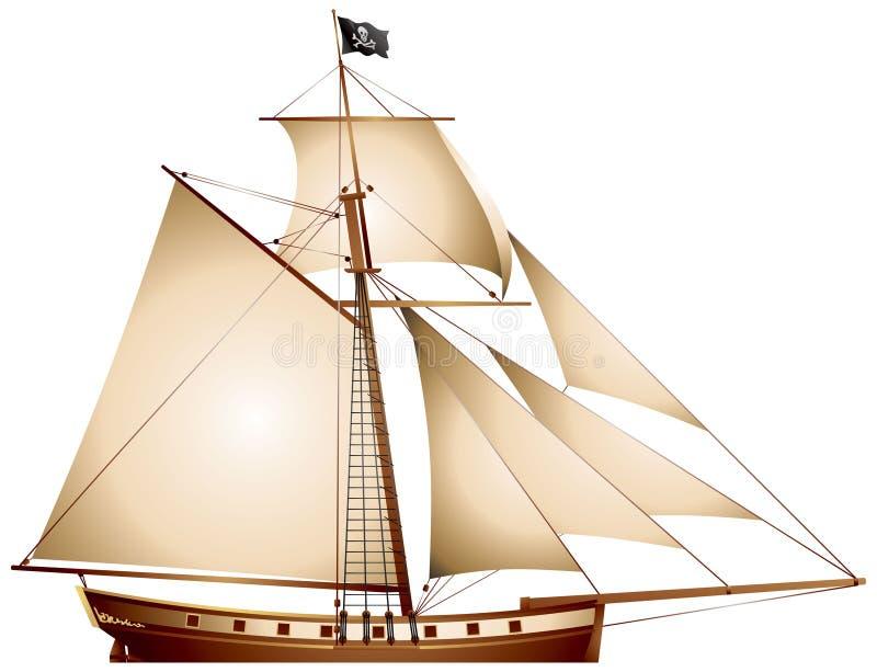 De Zeilboot van de piraat, Snijder stock illustratie