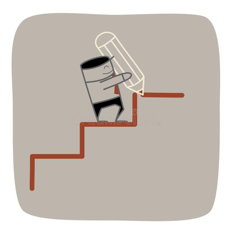De zekere bedrijfsmensenuitdaging en ontwikkelt zijn beroeps royalty-vrije illustratie