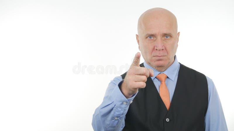 De zekere Vinger van Zakenmanimage pointing with royalty-vrije stock foto's