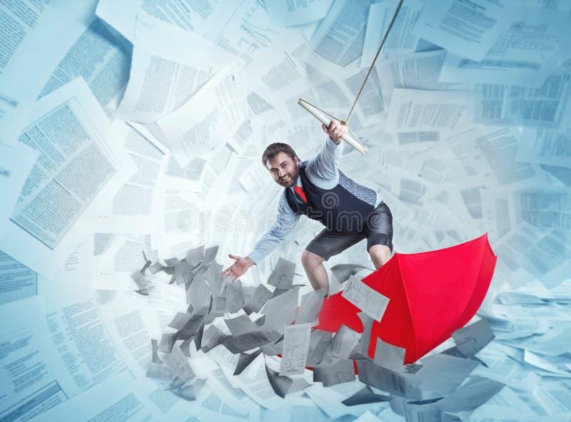 De zekere zakenman surft op rode paraplu royalty-vrije illustratie