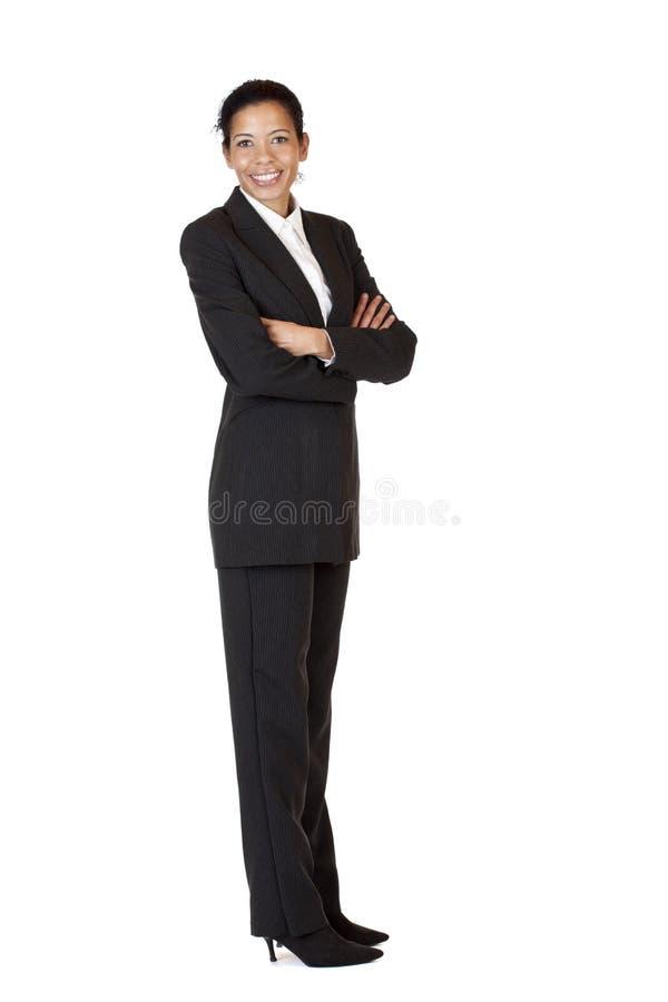 De zelf zekere bedrijfsvrouw glimlacht gelukkig royalty-vrije stock foto's