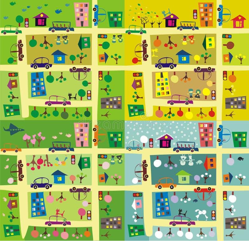 De zelfde straat tijdens 4 seizoenen vector illustratie