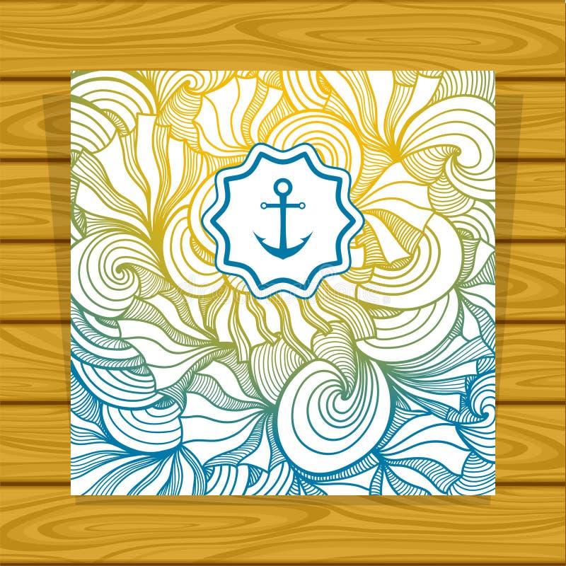 De zen-Krabbel van de malplaatje Abstracte zomer achtergrond in geel blauw royalty-vrije illustratie