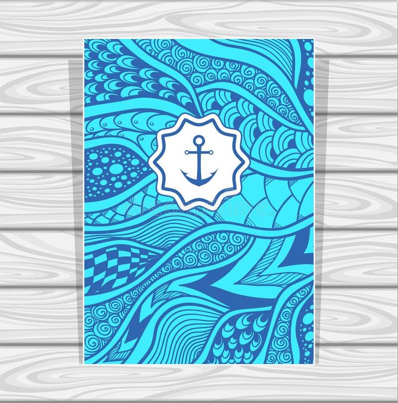 De zen-Krabbel van het vliegermalplaatje of zen-Verwarring textuur of patroon in blauw vector illustratie