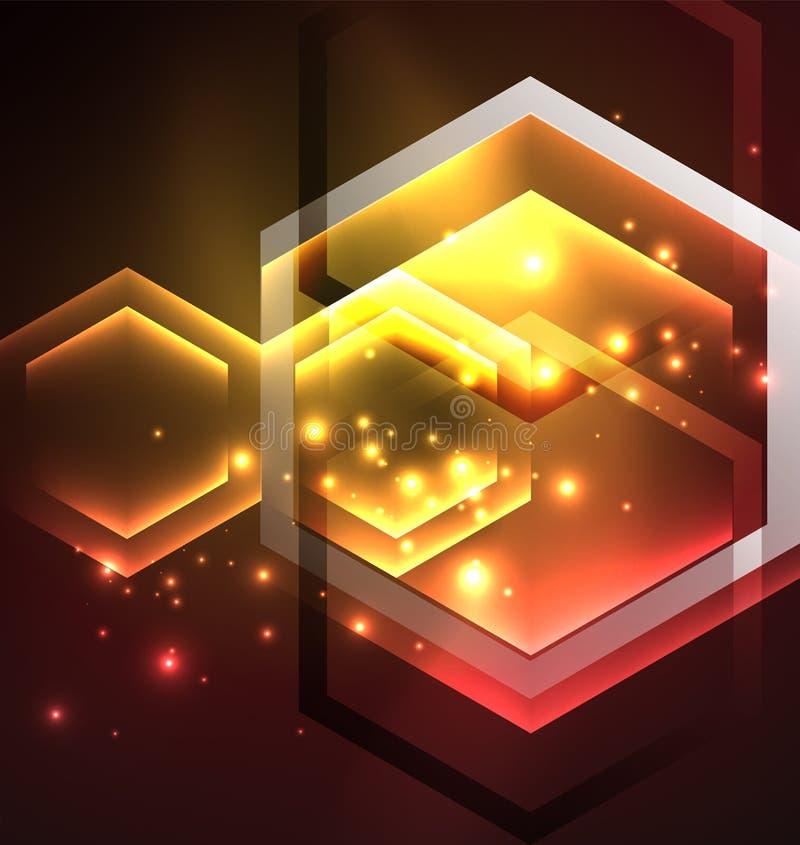 De zeshoeken vectorachtergrond van het Techno gloeiende glas royalty-vrije illustratie