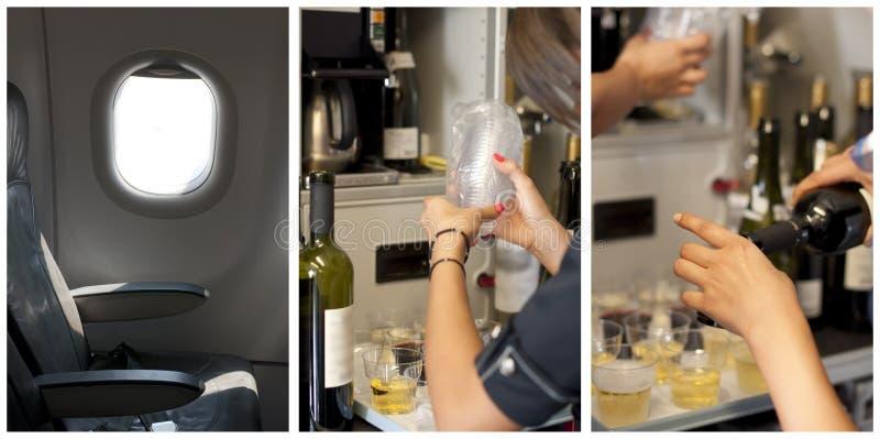 De zetel van de passagier in een vliegtuig. Gegoten stewardess stock afbeelding