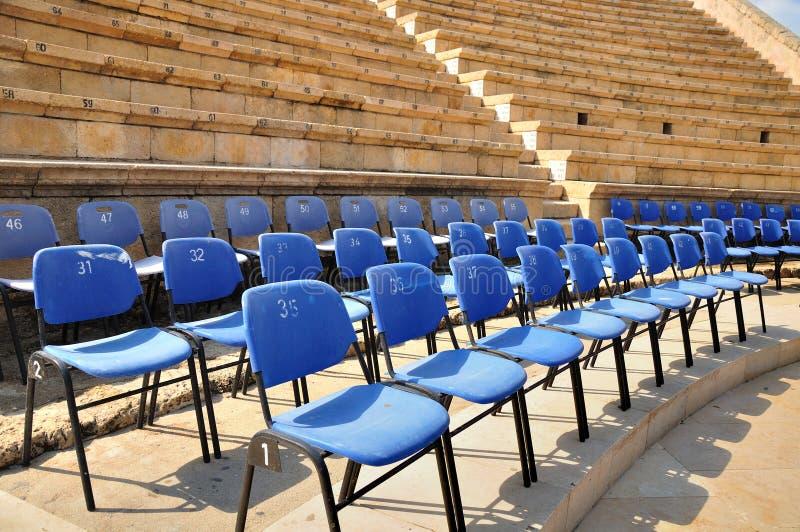 De zetelplaatsen van het amfitheater. stock foto
