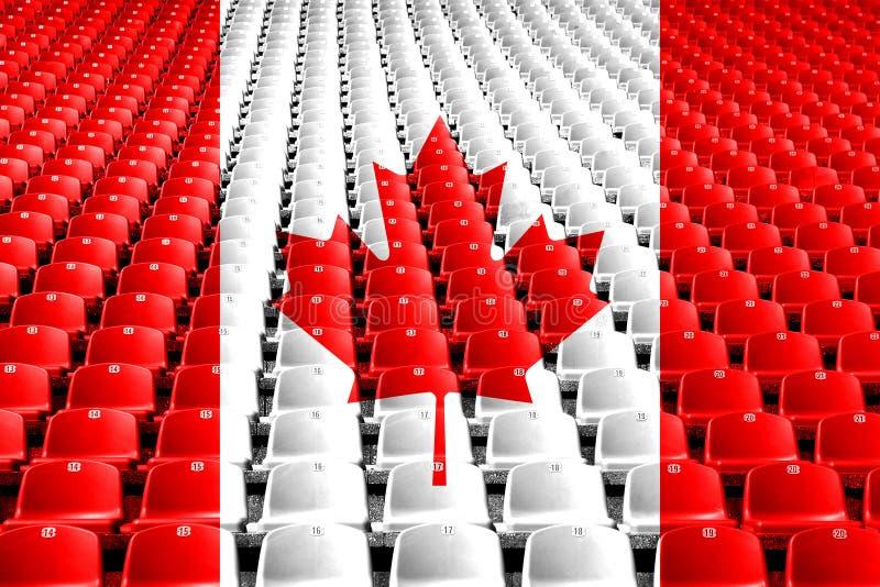 De zetels van het de vlagstadion van Canada Het concept van de sportenconcurrentie stock fotografie