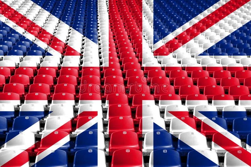 De zetels van het de vlagstadion van het Verenigd Koninkrijk Het concept van de sportenconcurrentie stock foto