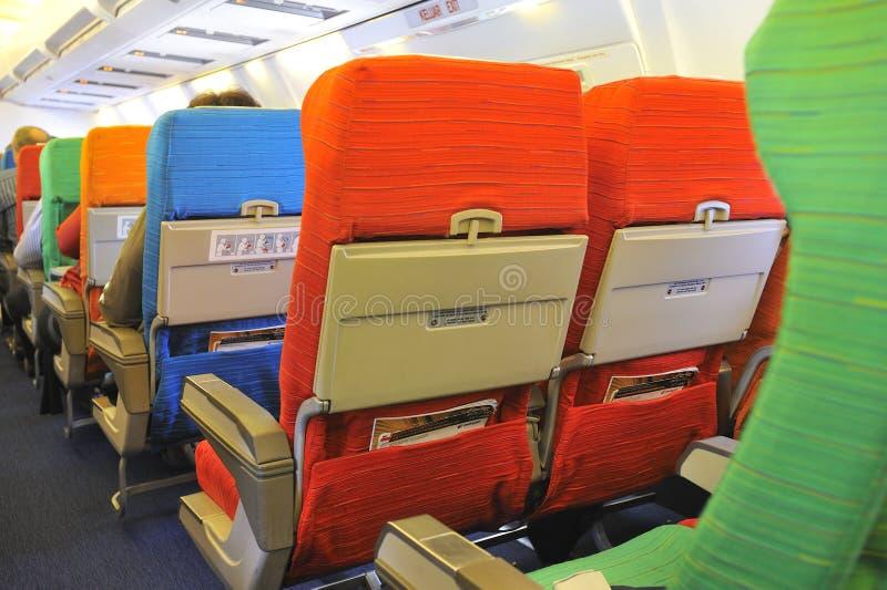 De Zetels van het vliegtuig stock foto's