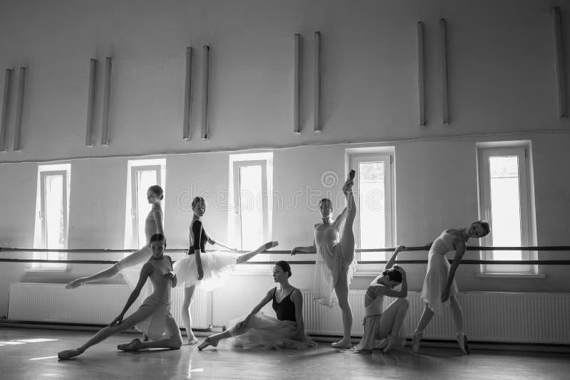 De zeven ballerina's bij balletbar stock afbeeldingen