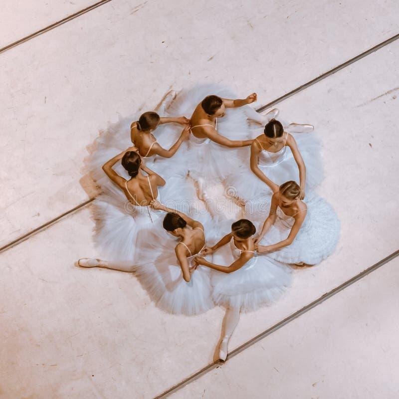 De zeven ballerina's op vloer royalty-vrije stock afbeelding